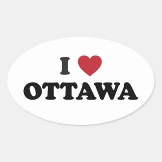 I Heart Ottawa Canada Oval Sticker