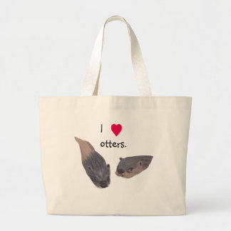 I heart otters canvas tote bags