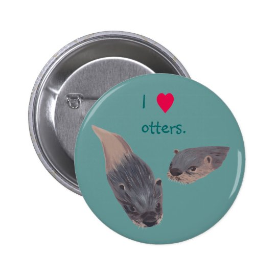 I heart otters pin on buttons