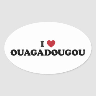 I Heart Ouagadougou Burkina Faso Oval Sticker