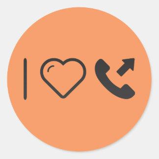 I Heart Outgoing Calls Classic Round Sticker