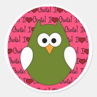 I Heart Owls Classic Round Sticker