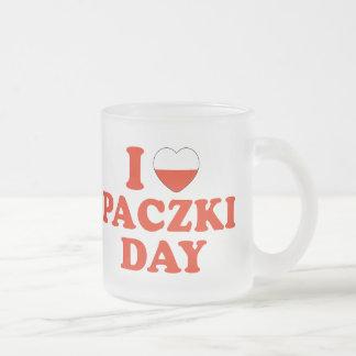I Heart Paczki Day Frosted Glass Coffee Mug