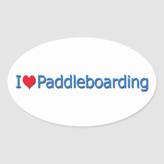 """I Heart Paddleboarding"" Logo Oval Sticker"