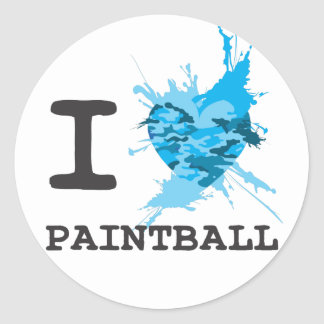 I Heart Paintball Round Sticker