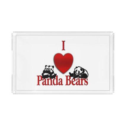 I Heart Panda Bears Acrylic Tray