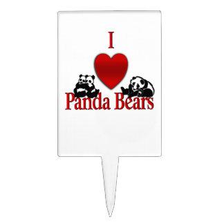 I Heart Panda Bears Cake Topper