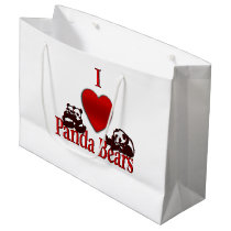 I Heart Panda Bears Large Gift Bag
