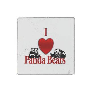 I Heart Panda Bears Stone Magnet