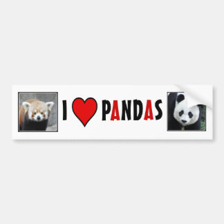 I Heart PANDAS! Car Bumper Sticker