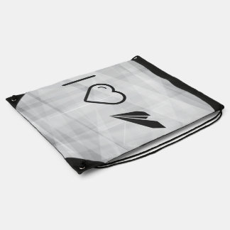 I Heart Paper Airplanes Drawstring Bags