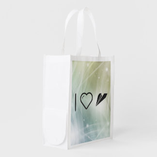 I Heart Paper Airplanes Reusable Grocery Bag