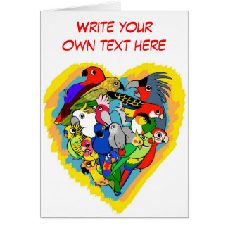 I heart parrots cute cartoon greeting card