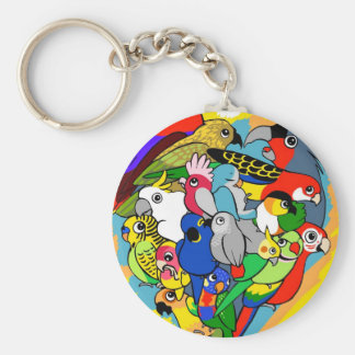 I heart parrots cute cartoon keychain