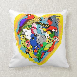 I heart parrots cute cartoon pillow
