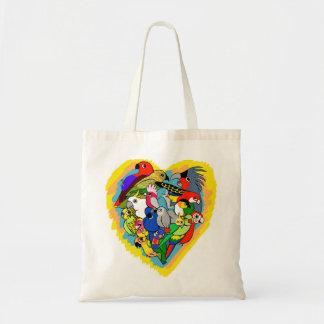 I heart parrots cute cartoon tote bag