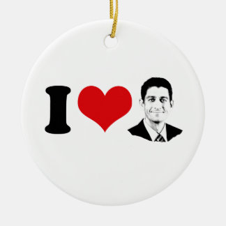 I HEART PAUL RYAN -.png Double-Sided Ceramic Round Christmas Ornament