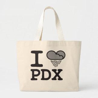I Heart PDX - Heart Shaped Rain Cloud Large Tote Bag