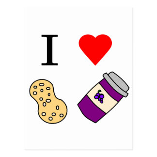 I heart Peanut Butter and Jelly Postcard
