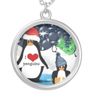I Heart Penguin Christmas Necklace