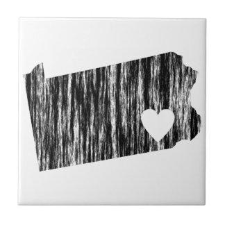 I Heart Pennsylvania Grunge Outline State Love Ceramic Tiles