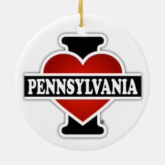 I Heart Pennsylvania Double-Sided Ceramic Round Christmas Ornament