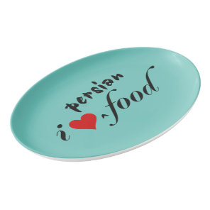 I heart persian food porcelain serving platter