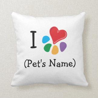 I heart pet's name_Heart-Paw template 2 Throw Pillow