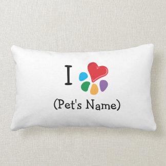 I heart pet's name_Heart-Paw template Lumbar Pillow