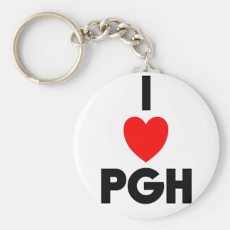 I Heart PGH Basic Round Button Keychain