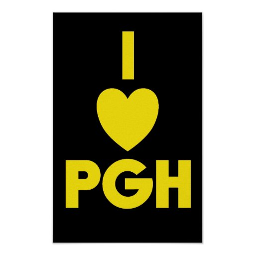 I Heart PGH Poster - Black 'n Gold