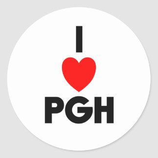 I Heart PGH Round Stickers