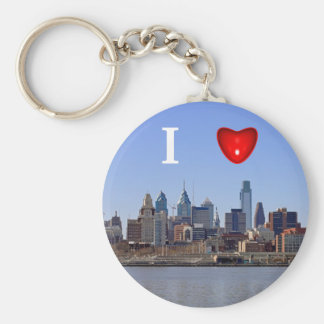 I Heart Philadelphia Skyline Basic Round Button Keychain
