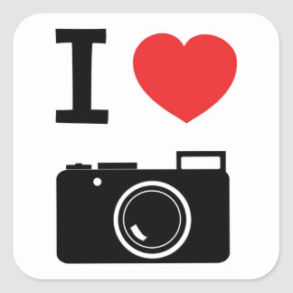 I HEART PHOTOGRAPHY SQUARE STICKER