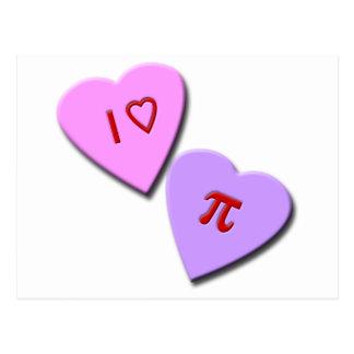 I Heart Pi Candy Hearts Postcard