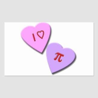 I Heart Pi Candy Hearts Rectangular Sticker