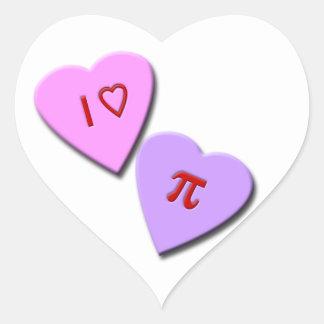 I Heart Pi Candy Hearts Sticker