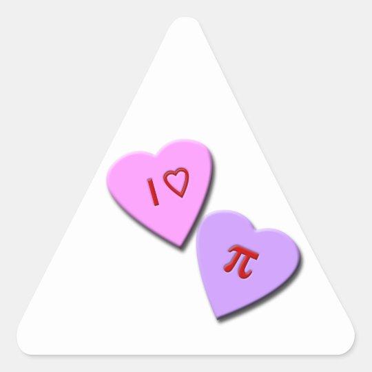 I Heart Pi Candy Hearts Triangle Sticker