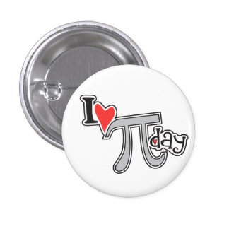 I heart Pi Day 1 Inch Round Button