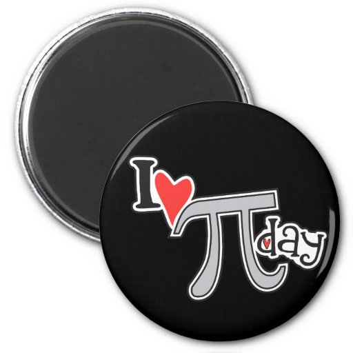 I heart Pi Day 2 Inch Round Magnet