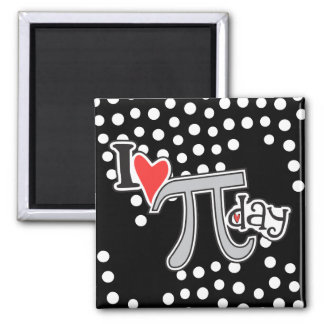 I heart Pi Day 2 Inch Square Magnet