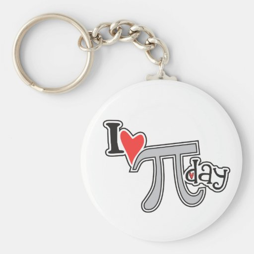 I heart Pi Day Basic Round Button Keychain