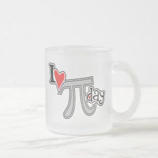 I heart Pi Day Frosted Glass Coffee Mug