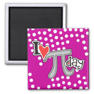 I heart Pi Day Hot Pink 2 Inch Square Magnet