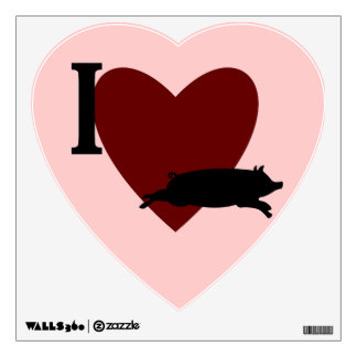I Heart Pig Wall Decal
