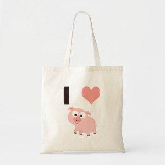 I heart pigs canvas bag