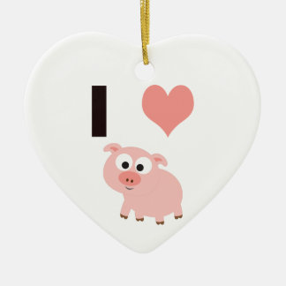I heart pigs ceramic ornament