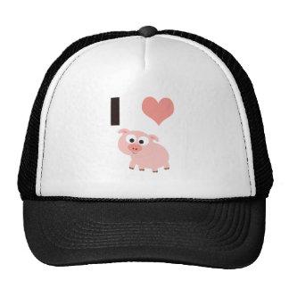 I heart pigs trucker hat