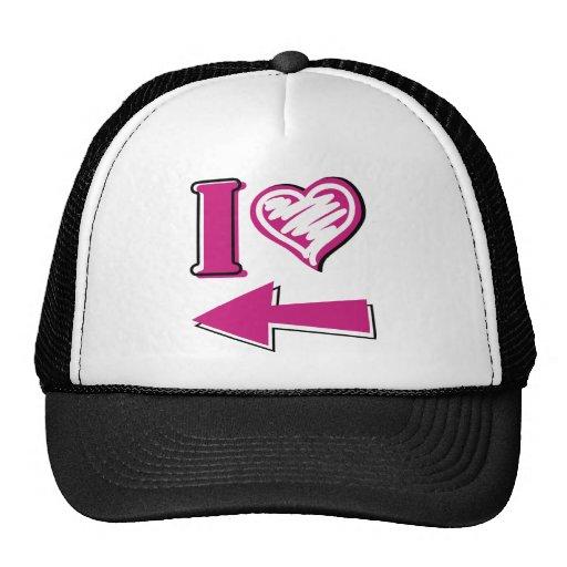I heart - Pink Arrow Trucker Hat