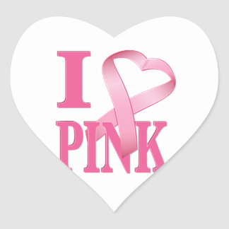 I Heart Pink Cancer Ribbon 2 Sticker